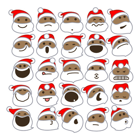 Black Santa Claus Christmas Emoticons. Vector Illustration Of African American Santa Claus Emoticons For Christmas