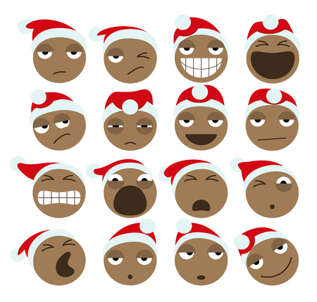 Black Santa Claus Christmas Icons. Vector Illustration Of African American Santa Claus Emoticons