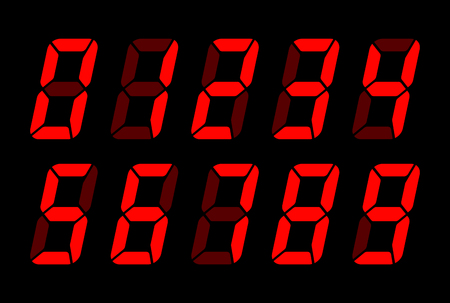 Red Digital Numbers For Lcd Electronic Screen. Vector Illustration Of Digital Numbers As Electronic Digits