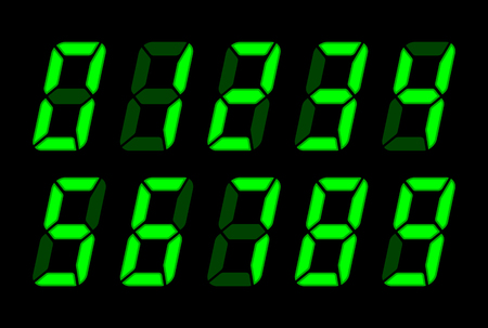Green Digital Numbers For Lcd Electronic Screen. Vector Illustration Of Digital Numbers As Electronic Digits