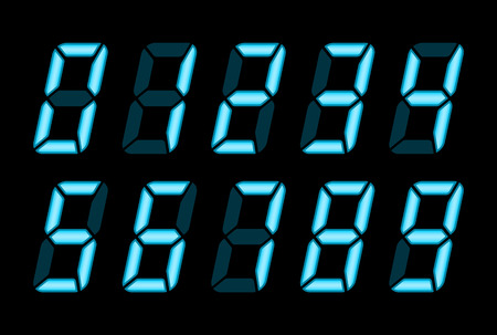 Blue Digital Numbers For Lcd Electronic Screen. Vector Illustration Of Digital Numbers As Electronic Digits
