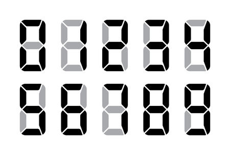 Digital Numbers For Lcd Electronic Screen. Vector Illustration Of Digital Numbers As Electronic Digits