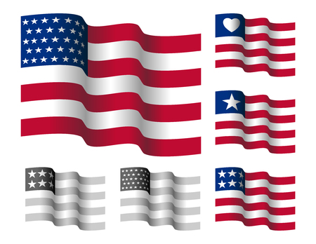 Waving Stars And Straps American Flag. Vector Illustration Of Flapping Flag Of United States Of America. Иллюстрация