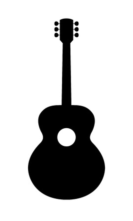 Acoustic Guitar Silhouette. Vector Illustration Of Hand Drawn, No Brand, Imaginery Acoustic Guitar 