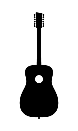 12 String Acoustic Guitar Silhouette. Vector Illustration Of Hand Drawn, No Brand, Imaginery Acoustic Guitar Silhouette. No Release needed, no copyright infringrment. Иллюстрация