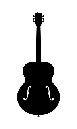 No Name Jazz Guitar Silhouette. Vector Illustration Of Hand Drawn, No Brand, Imaginary Acoustic Jazz Guitar Silhouette. Release Not needed, no copyright infringement.