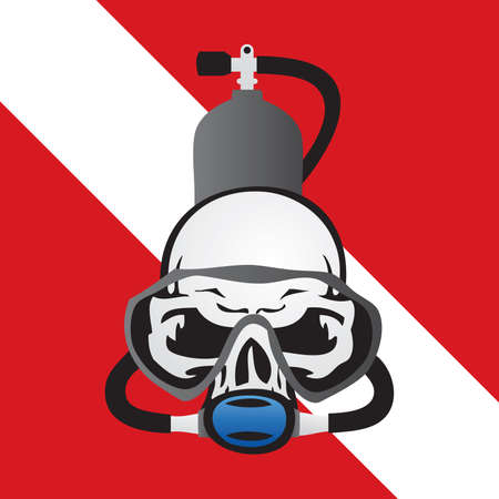 Skull Scuba Diving Logo Vector Illustration