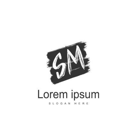 Initial letter SM logo template design. minimal letter logo design  イラスト・ベクター素材
