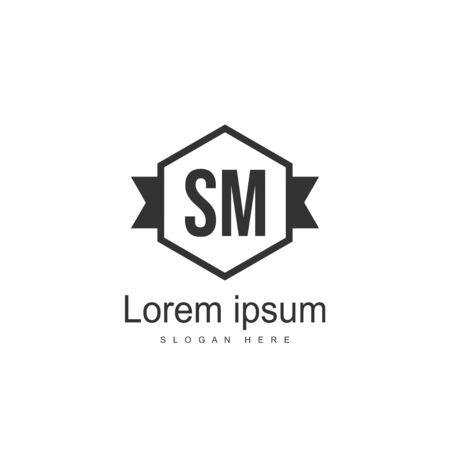 Initial letter SM logo template design. minimal letter logo design Illustration
