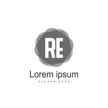 RE Logo template design. Initial letter logo template design