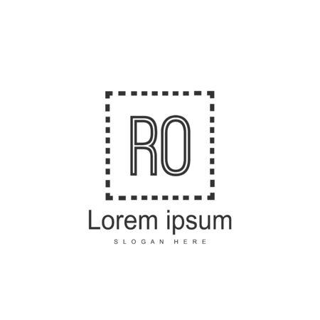 Initial RO Logo Template. Minimalist letter logo template design Ilustração
