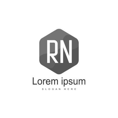 Wstępny szablon logo RN. Minimalistyczny projekt szablonu logo listu