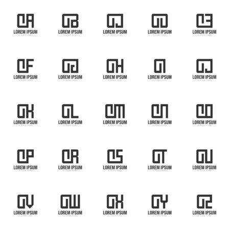 Set of letter logo template. Minimal letter logo template design Logó