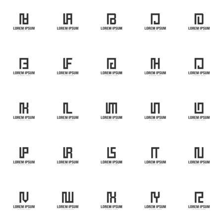 Set of letter logo template. Minimal letter logo template design