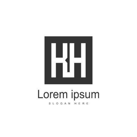 Initial Letter KH Logo template design. Minimalist letter logo vector design