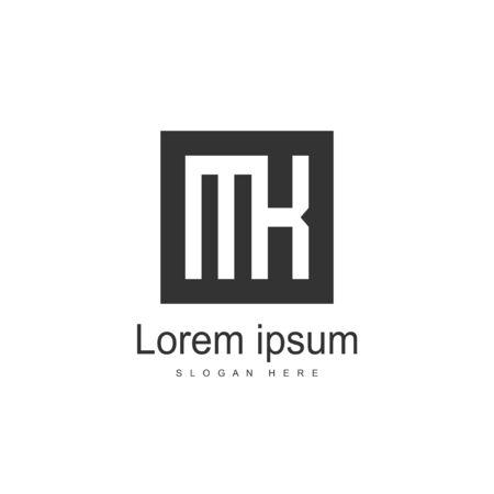 Initial Letter MK Logo template design. Minimalist letter logo vector design