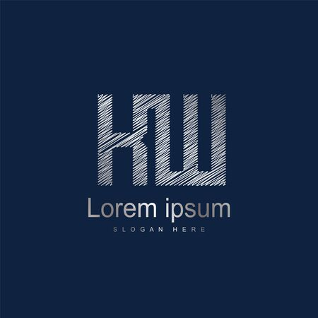 Initial Letter KW Logo Template Vector Design. Abstract letter logo design