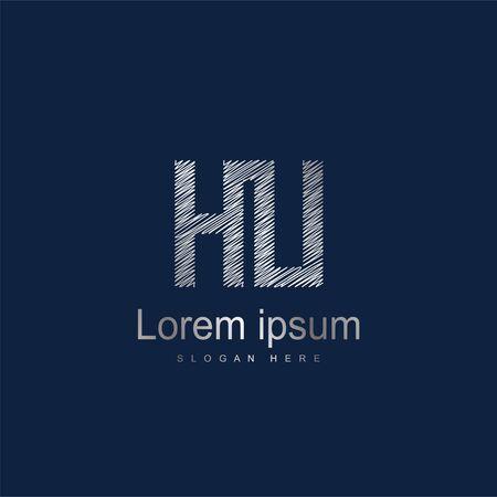 Initial Letter HU Logo Template Vector Design