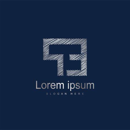 Initial Letter PE Logo Template Vector Design. Silver letter logo