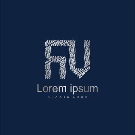 Initial Letter RV Logo Template Vector Design. Silver letter logo