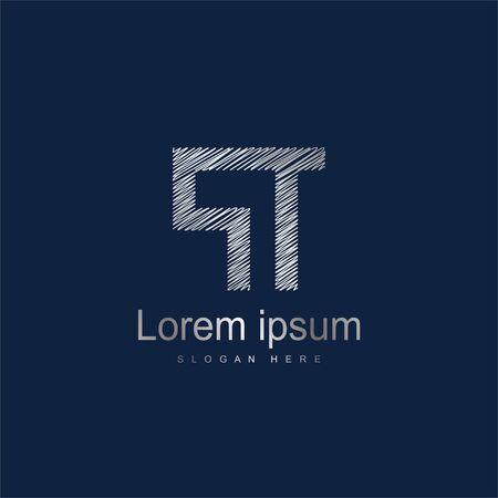 Initial Letter PT Logo Template Vector Design. Silver letter logo