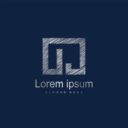 Initial Letter OJ Logo Template Vector Design. Silver letter logo 向量圖像