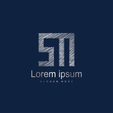 Initial Letter SM Logo Template Vector Design. Silver letter logo Illustration