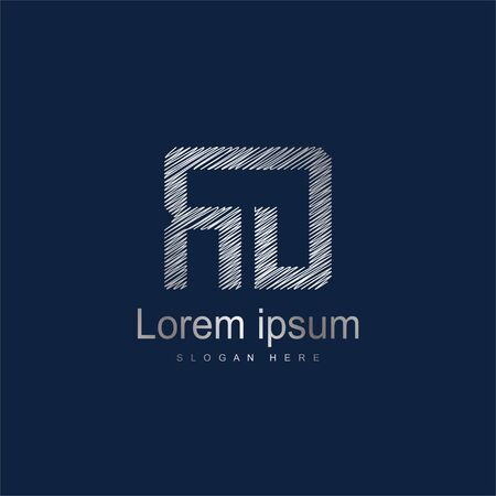 Initial Letter RD Logo Template Vector Design. Silver letter logo