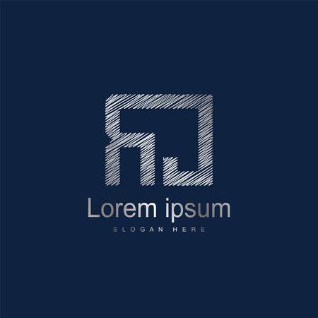 Initial Letter RJ Logo Template Vector Design. Silver letter logo