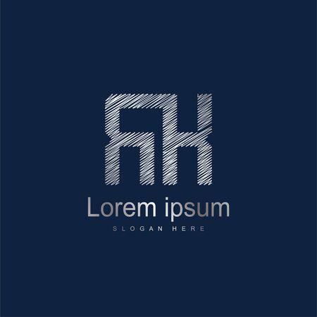Initial Letter RK Logo Template Vector Design. Silver letter logo