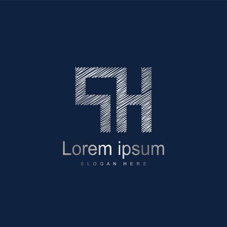 Initial Letter PH Logo Template Vector Design. Silver letter logo Logó