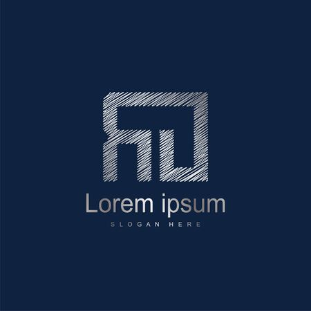 Initial Letter RO Logo Template Vector Design. Silver letter logo Иллюстрация