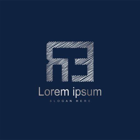 Initial Letter RE Logo Template Vector Design. Silver letter logo