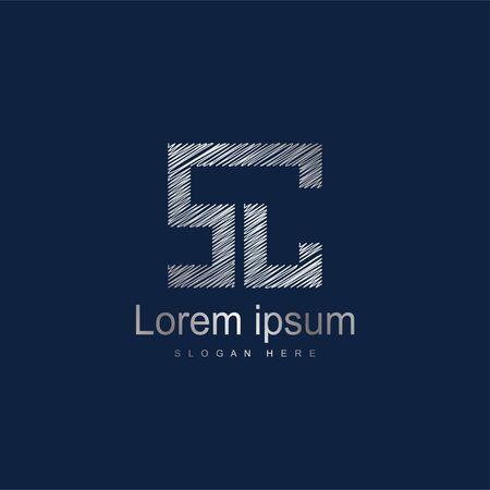 Initial Letter SC Logo Template Vector Design. Silver letter logo
