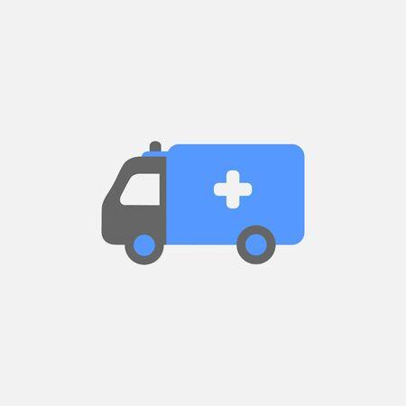 Ambulance flat icon vector isolated on white background Illustration