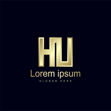 Initial Letter HU Logo Template Vector Design Logó
