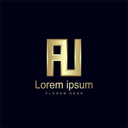 Initial Letter AU Logo Template Vector Design