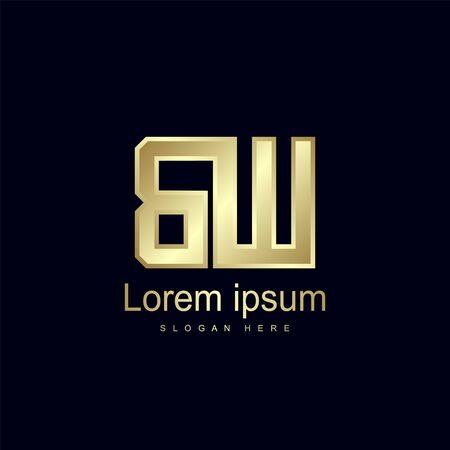 Initial Letter BW Logo Template Vector Design Logó