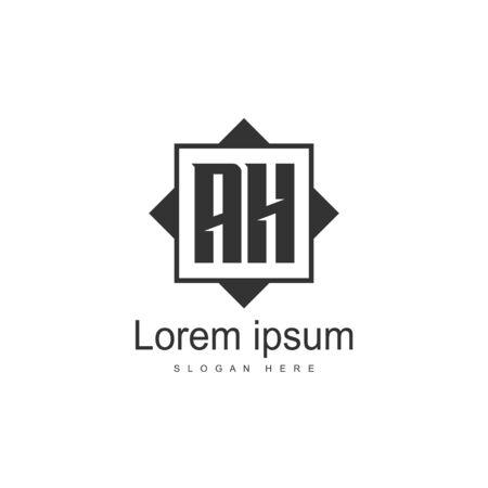 Initial Letter AH Logo Template Vector Design Stock Illustratie
