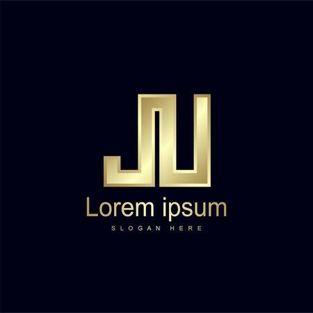 Initial Letter JU Logo Template Vector Design 向量圖像