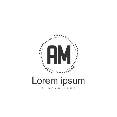Initial Letter AM Logo Template Vector Design