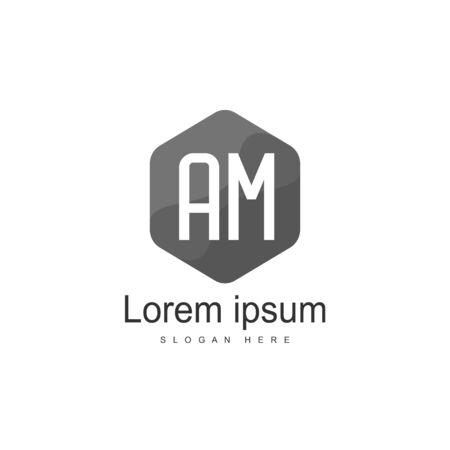 Initial Letter AM Logo Template Vector Design Logo