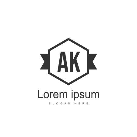 Initial Letter AK Logo Template Vector Design Stock Illustratie