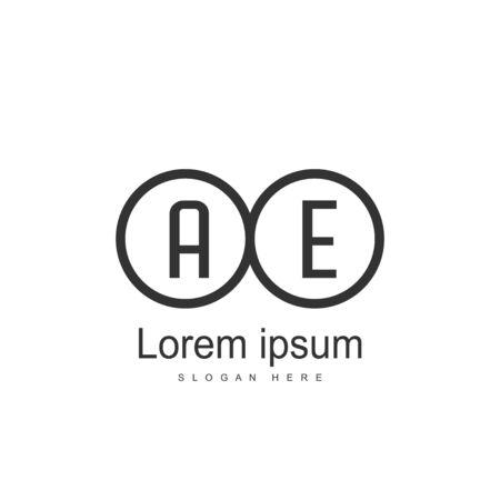 Initial Letter AE Logo Template Vector Design Stock Illustratie