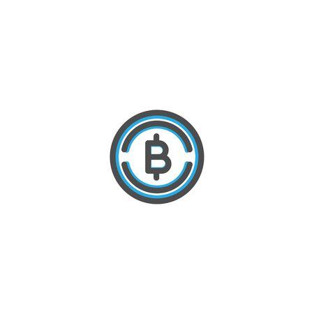 Bit Coins Icon Line Design. E Commerce icon vector illustration design Ilustracja