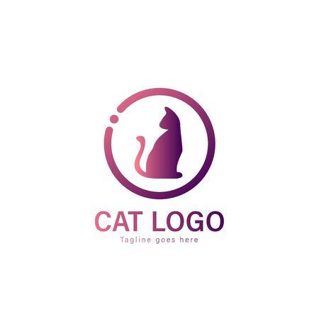 Cat logo vector illustration. modern cat logo template isolated on white background