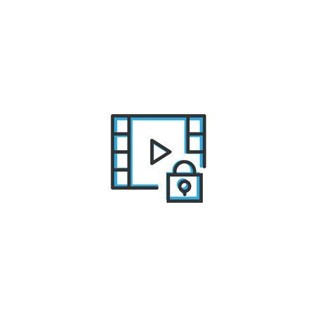 Video Player icon design. Interaction icon line vector illustration design