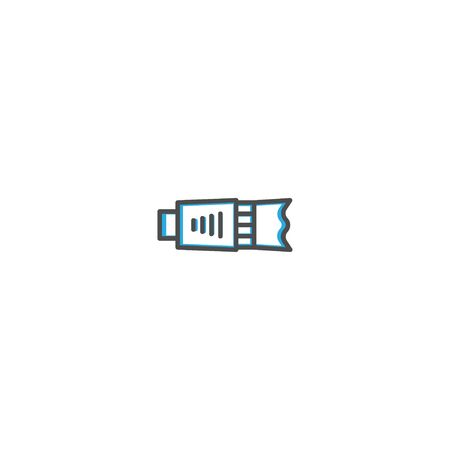 Objective icon design icon design. Photography and video icon line vector illustration design Banco de Imagens - 128898098