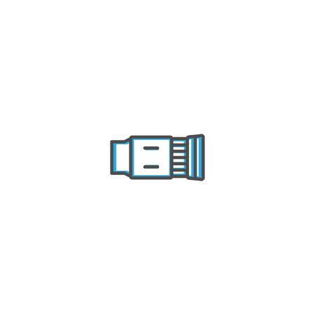 Objective icon design icon design. Photography and video icon line vector illustration design Banco de Imagens - 128898122