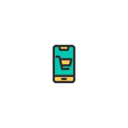 Mobile Shopping icon design. e-commerce icon vector illustration  イラスト・ベクター素材